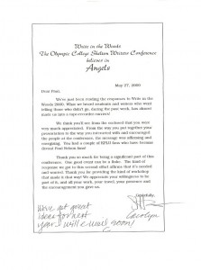 Letter From Write In The Woods Conference page 1