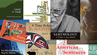 Collage of Books featured at Cascadia Poetics LAB