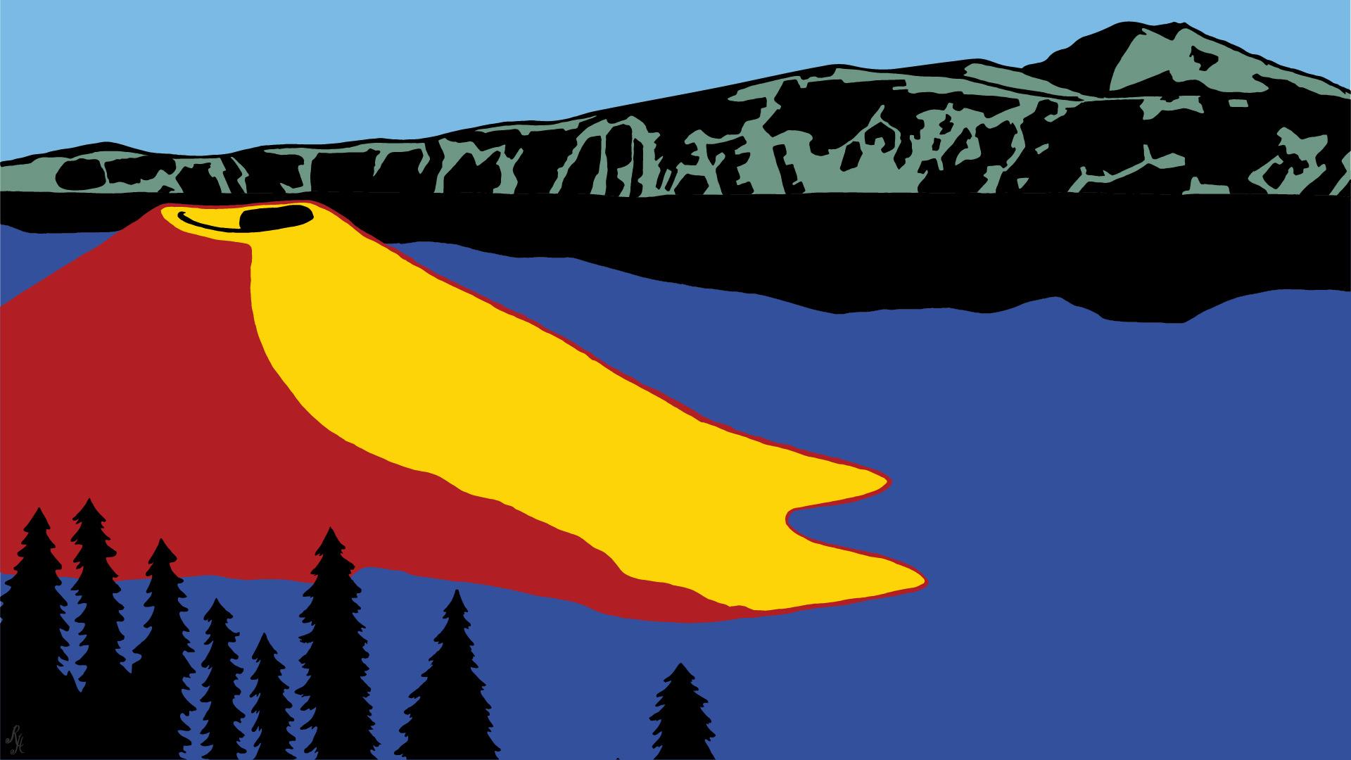 Crater Lake Illustration by Roberta Hoffman