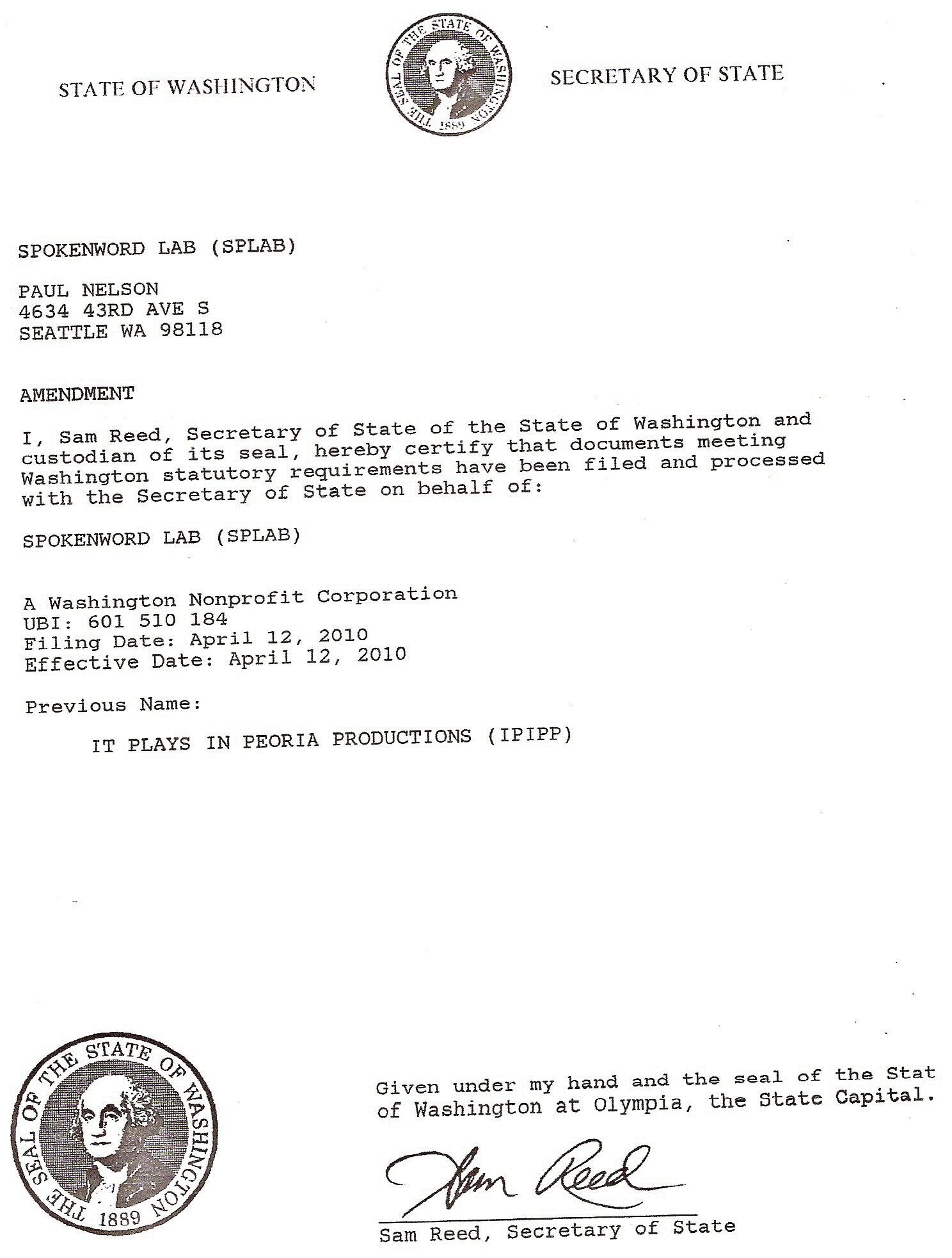 Secretary of State Determination Letter